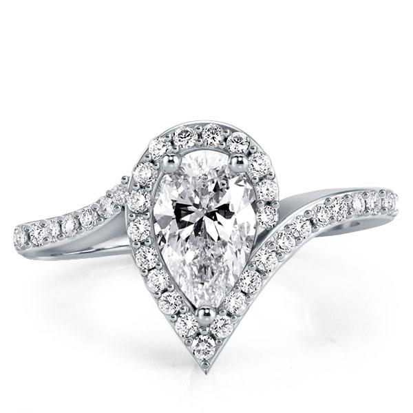 Halo Special Design Simplicity Duo Side Pear Engagement Ring, White