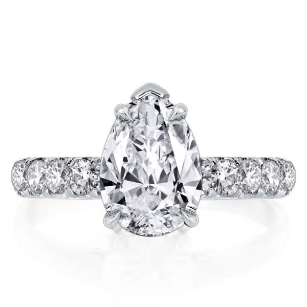 Classic White Simplicity Duo Side Pear Cut Engagement Ring