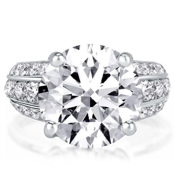 Half Eternity Three Row Classic Round Engagement Ring, White