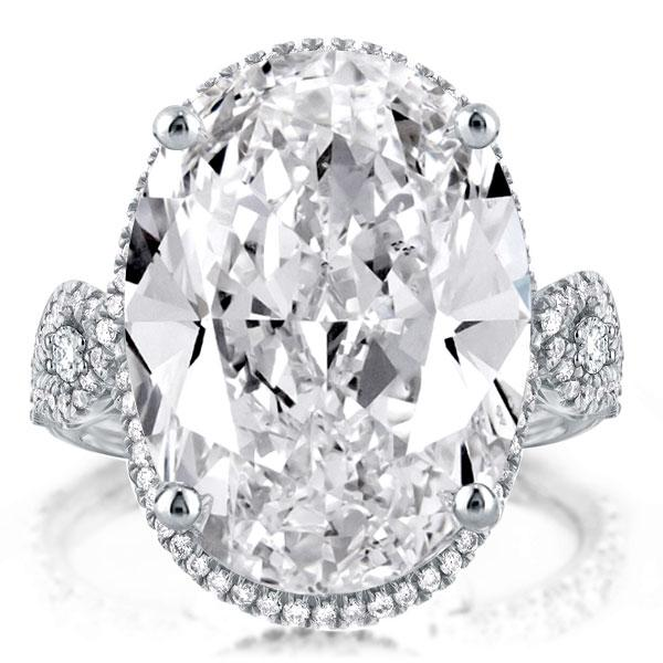 Halo Twist Oval Cut Engagement Ring, White