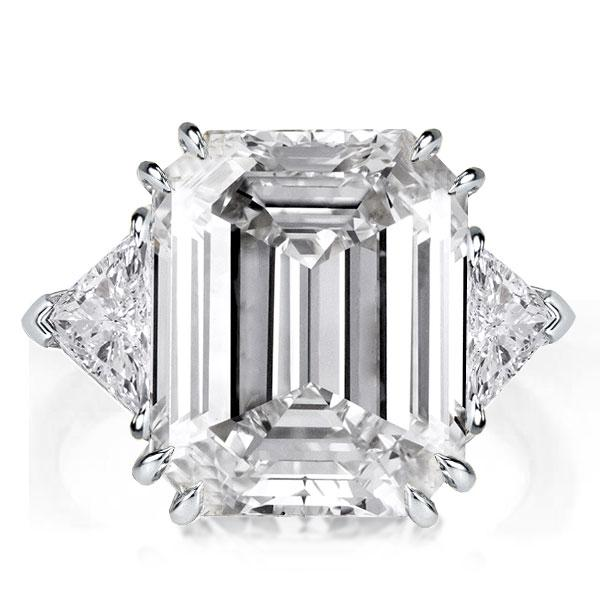 Double Prong Three Stone Emerald Engagement Ring, White