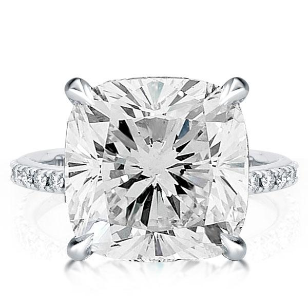 Classic Hiden Halo Cushion Cut Engagement Ring, White