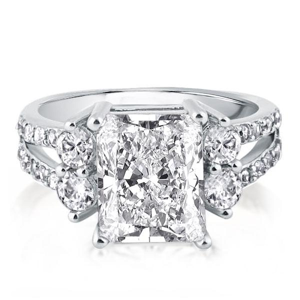 Five Stone Split Shank Engagement Ring (3.50 CT. TW.), White