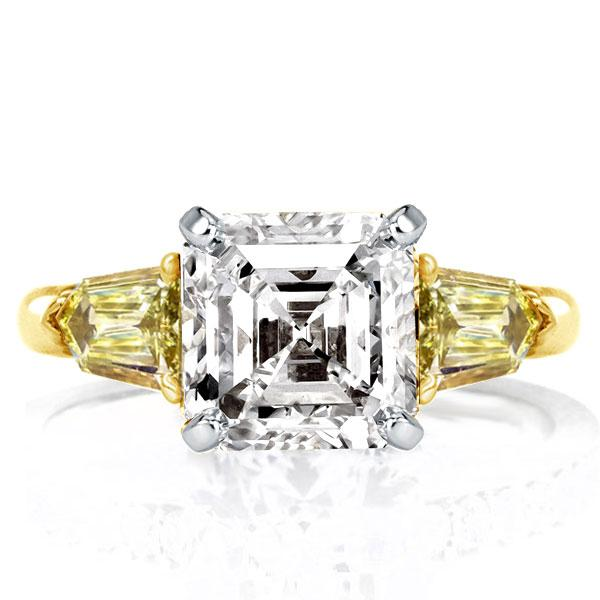 Two Tone Three Stone Asscher Cut Engagement Ring, White