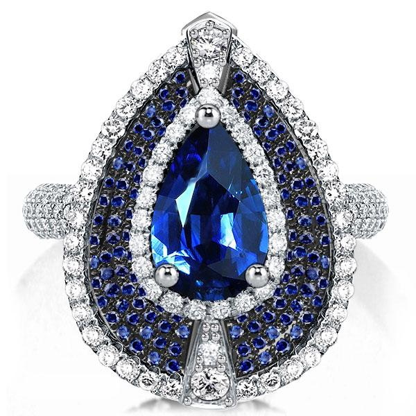 Multi Halo Blue Pear Cut Engagement Ring, White