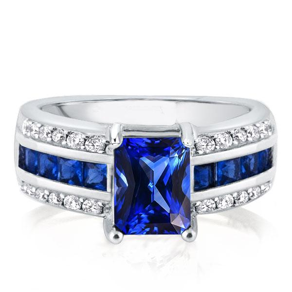Italo Art Deco Created Sapphire Engagement Ring, White