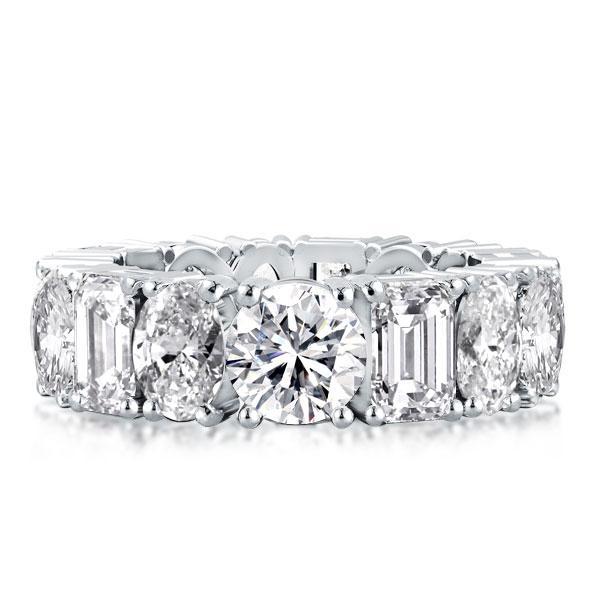 Eternity Round & Oval & Emerald Wedding Band, White