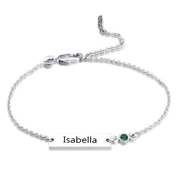 Personalized Bar Name Bracelet In Silver