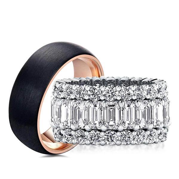 Eternity Triple Row Two Tone Emerald Cut Couple Rings, White