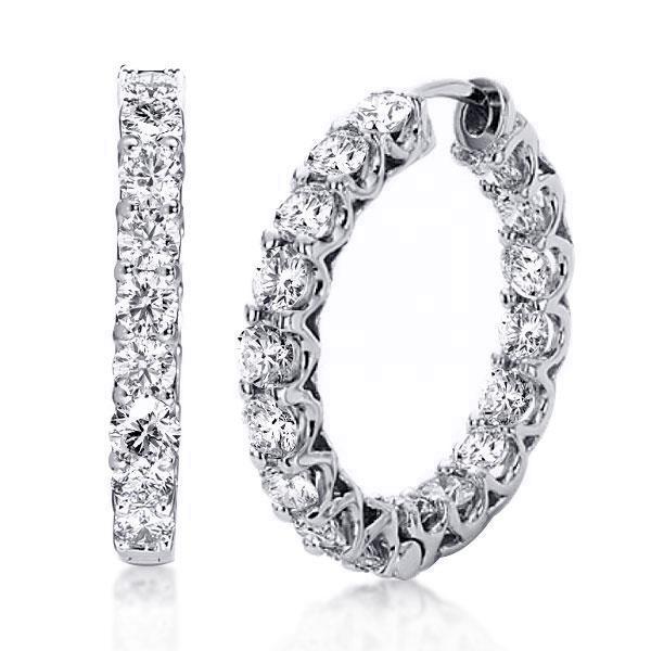 Round Cut Silver Hoop Earrings For Women