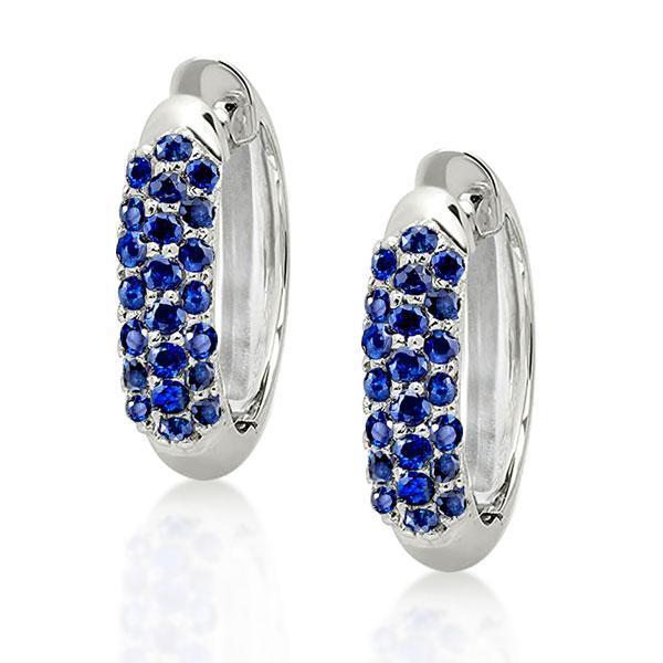 Round Cut Hoop Blue Sapphire Earrings, White