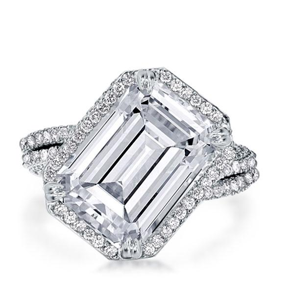 Halo Double Prong Harmony Split Emerald Cut Engagement Ring, White