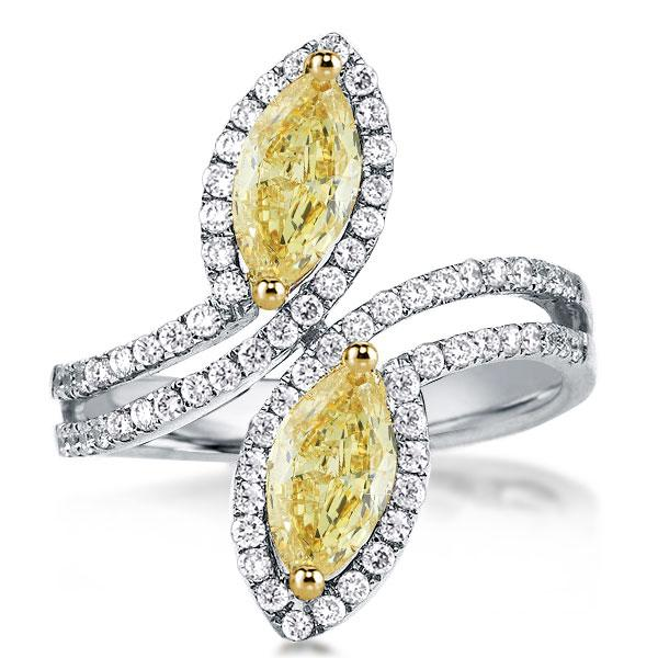 Halo Split Shank Leaf Yellow Marquise Cut Engagement Ring, White