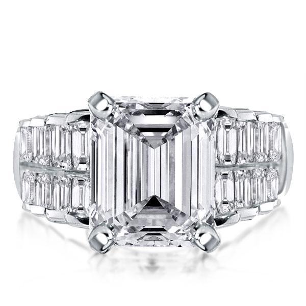 Half Eternity Double Row Emerald & Baguette Cut Engagement Ring, White