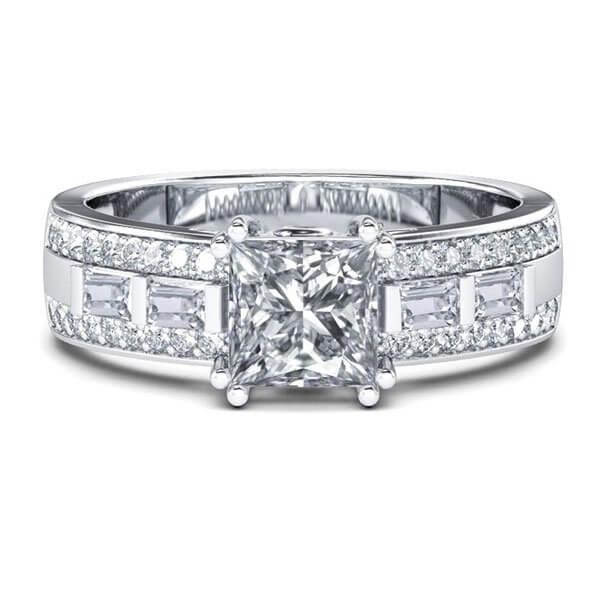 Italo Created White Sapphire Engagement Ring (0.99 CT. TW.)