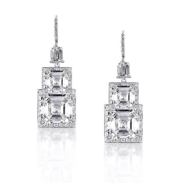 Halo Asscher Cut Drop Fashion Earrings