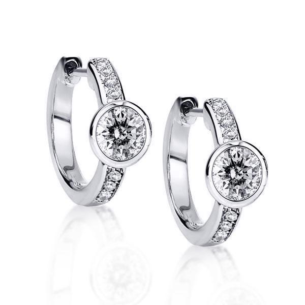 Classic Round Cut Hoop Fashion Jewellery Earrings, White