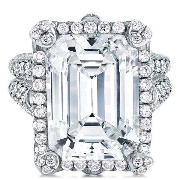 Halo Split Shank Emerald Cut Engagement Ring, White