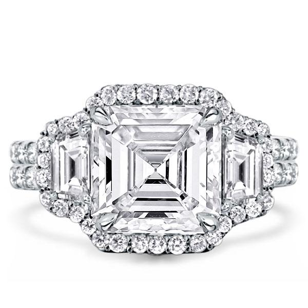 Halo Harmony Split Three Stone Asscher Cut Engagement Ring, White