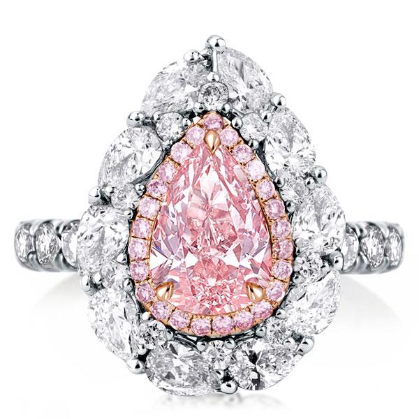 Pink Double Halo Two Tone U-Pave Pear Cut Engagement Ring, White