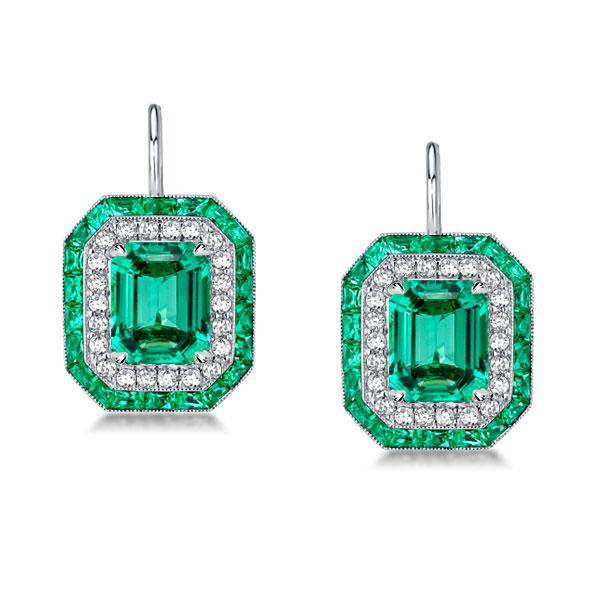Luxury Double Halo Emerald Drop Earrings, White