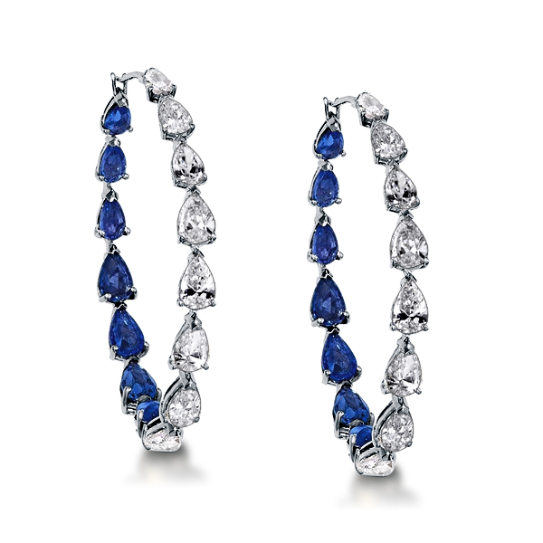 Pear Cut Blue Hoop Earrings, White