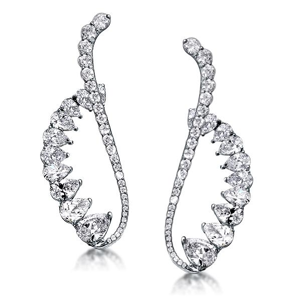 Luxury Design Pear Cut Cuff Earrings, White