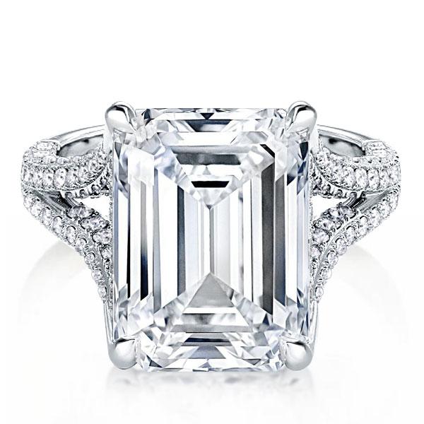 Split Shank Emerald Cut Engagement Ring, White