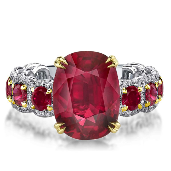 Two Tone Double Prong Oval Ruby Engagement Ring, White
