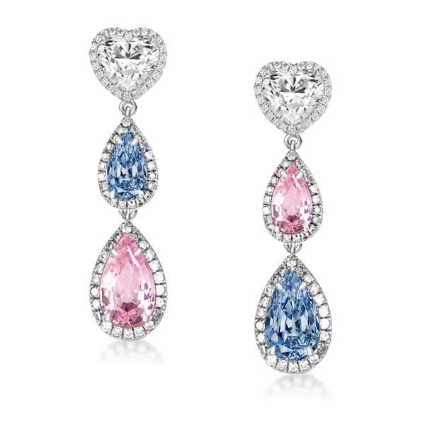 Halo Heart & Pear Cut Drop Earrings, White