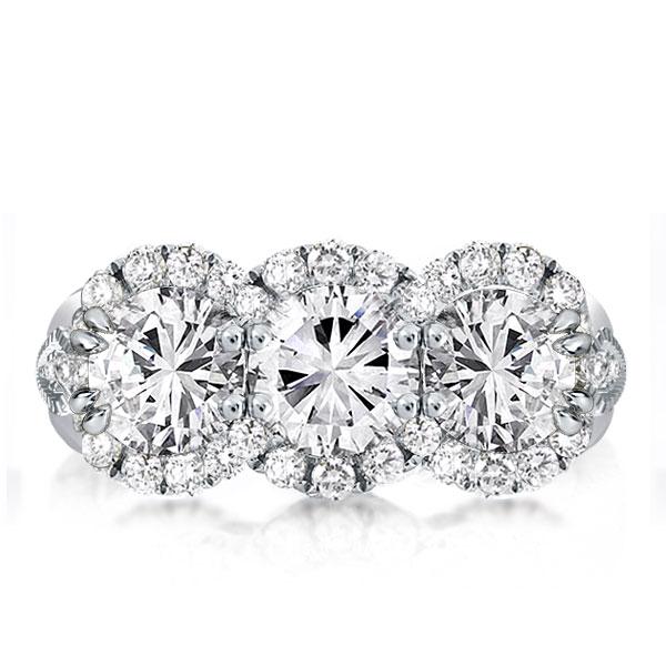 Three Stone Halo Round Cut Engagement Ring, White
