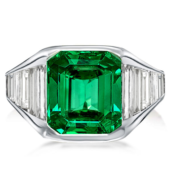 Radiant & Baguette Green Engagement Ring