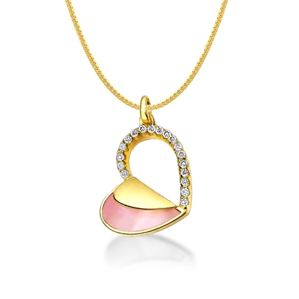 Gold Heart Round Cut Pendant Necklace