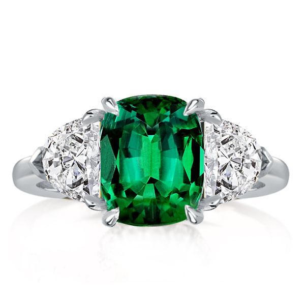 Three Stone Green Cushion Cut Engagement Ring, White