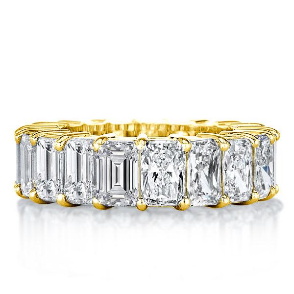 Golden Half Emerald & Radiant Cut Wedding Band, White