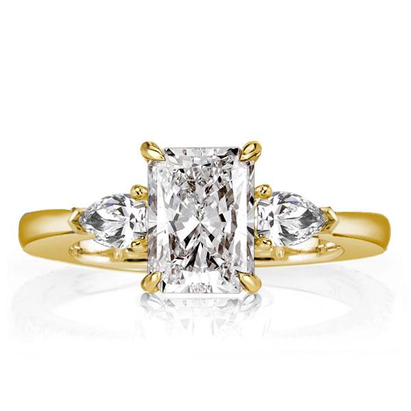 Golden Three Stone Radiant Cut Engagement Ring, White
