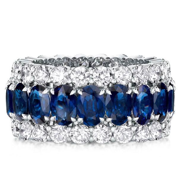 Eternity Triple Row Blue Oval &Round Cut Wedding Band, White