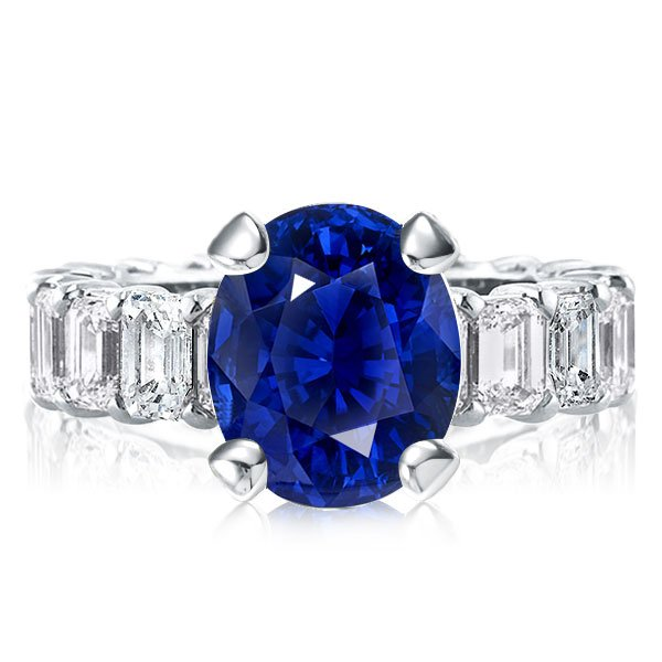Eternity Blue Oval Cut Engagement Ring, White