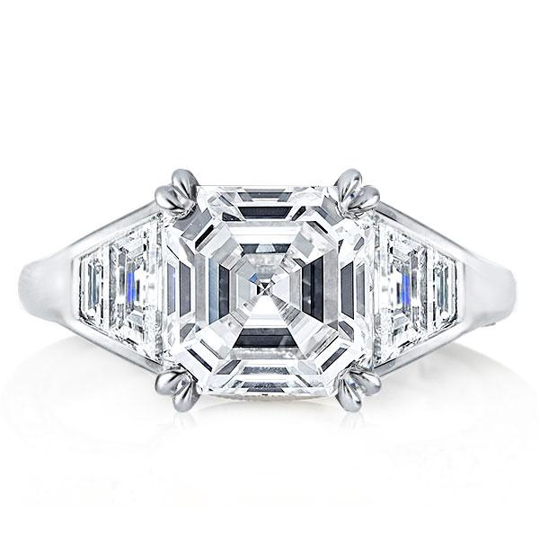 Double Prong Asscher Cut Engagement Ring, White