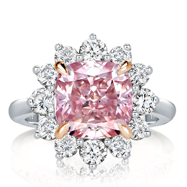 Two Tone Pink Cushion Cut Engagement Ring, White