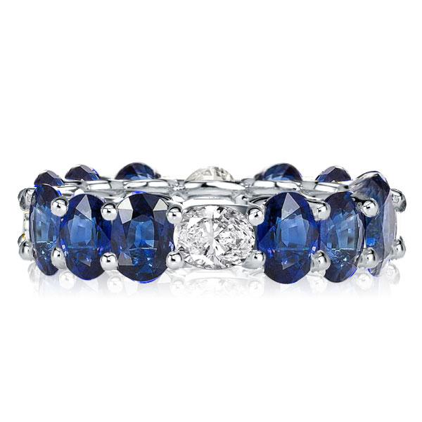 Eternity Blue Oval Cut Wedding Band, White