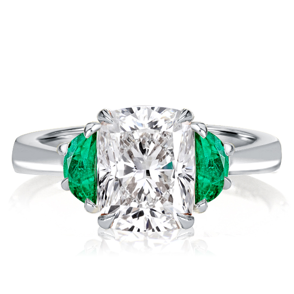 Three Stone Cushion Cut Engagement Ring, White