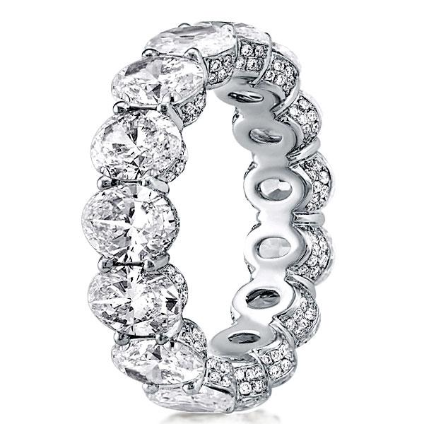 Classic Eternity Shared Prong Oval Cut Wedding Band, White