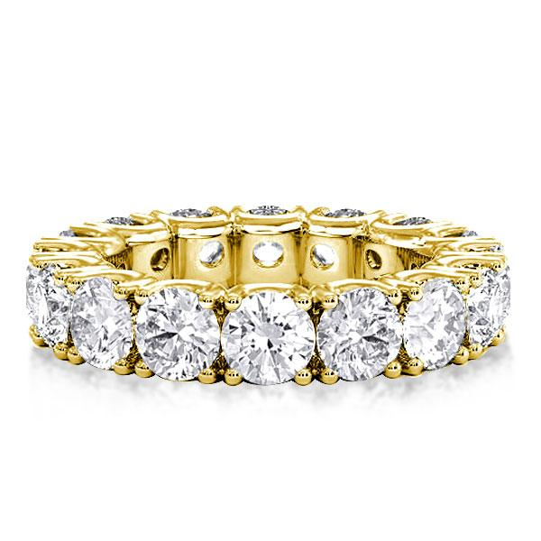 Classic Pave Eternity Golden Round Cut Womens Wedding Band, White