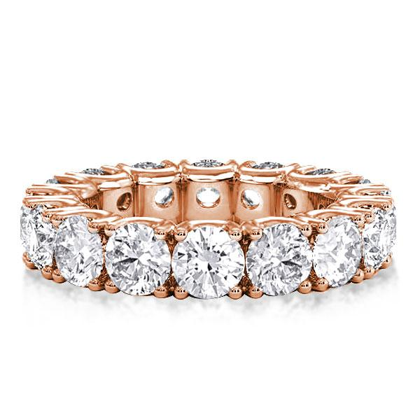 Classic Pave Eternity Rose Gold Round Cut Womens Wedding Band, White