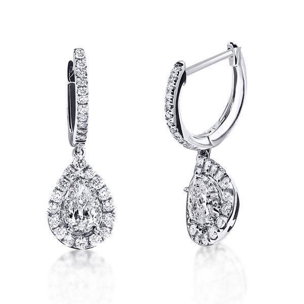Halo Pear Cut Fashion Hoop Earrings, White