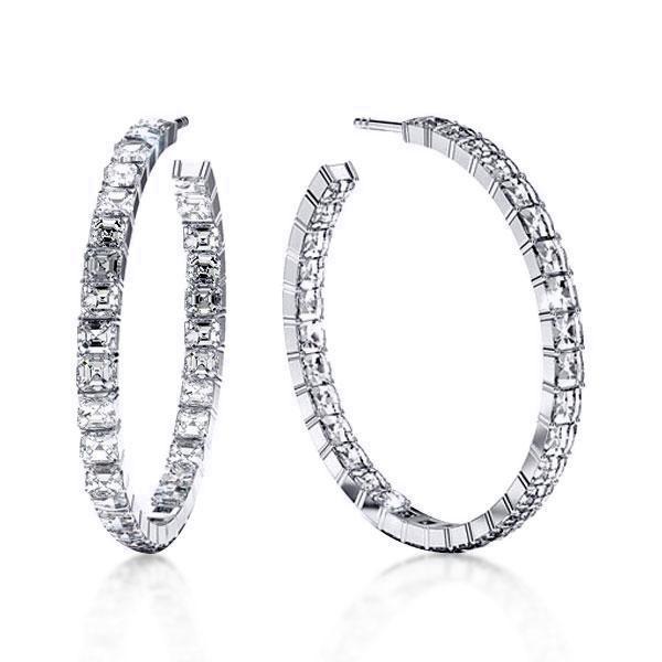 Classic Asscher Cut Hoop Fashion Earrings For Women