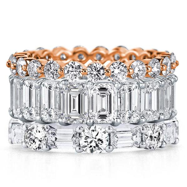 Eternity Triple Row Two Tone Emerald & Round Stackable Band Set, White