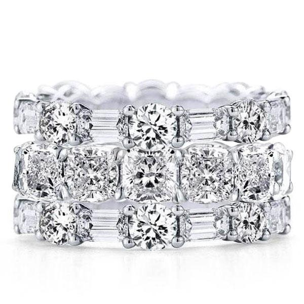 Triple Row Cushion & Round & Baguette Stackable Band Set, White