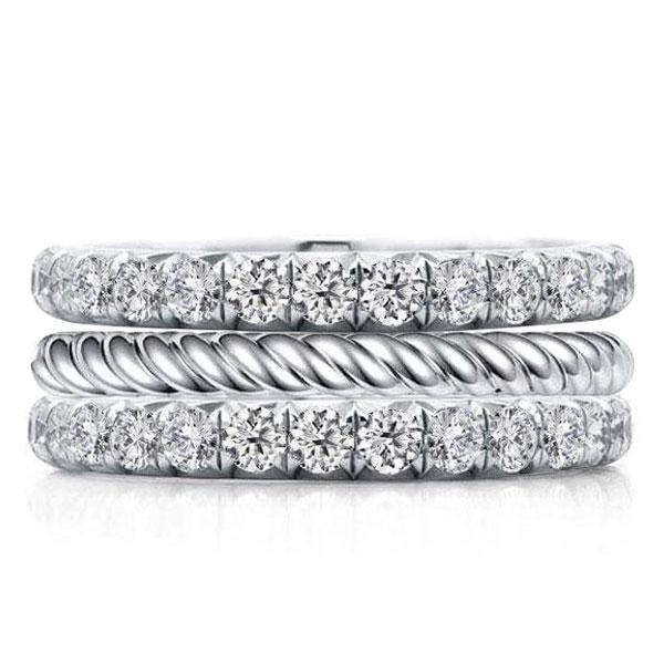 Classic Triple Row Eternity Round Cut Stackable Band Set, White